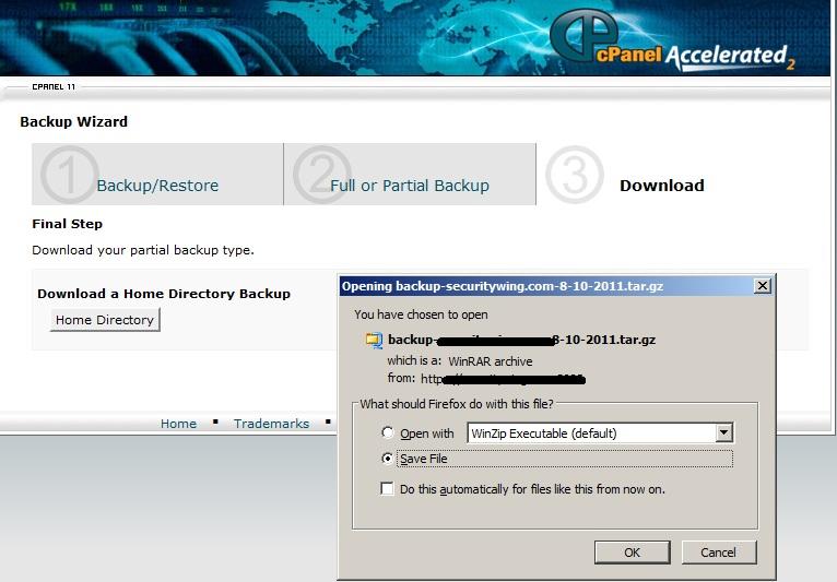 wordpress home directory backup