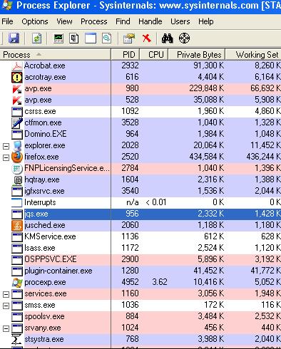 windows process scan