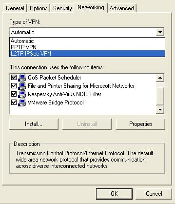 select PPTP and L2TP in windows