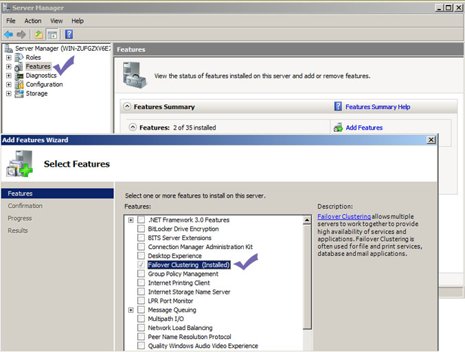 adding failover cluster feature in windows 2008