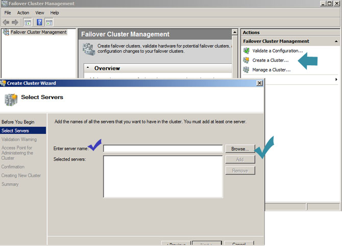 creating cluster in windows 2008 server