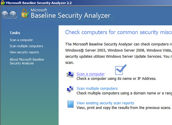 using microsoft baseline security analyzer