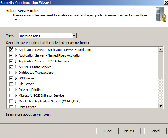 scw showing instlled roles in windows 2008 server