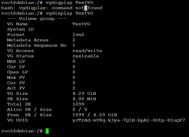 volume group display command in linux