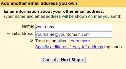 how to create email with domain name in gmail