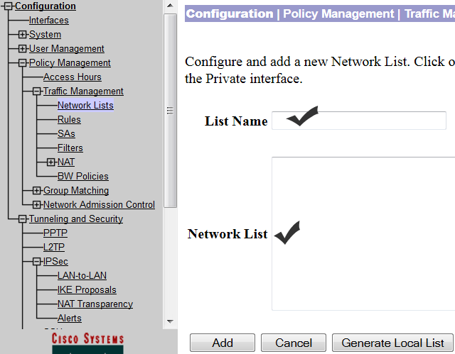 add network in the vpn concentrator
