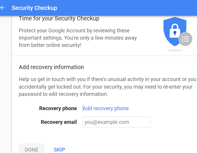 add gmail account recovery phone number and email address