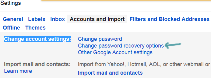 change gmail password recovery options