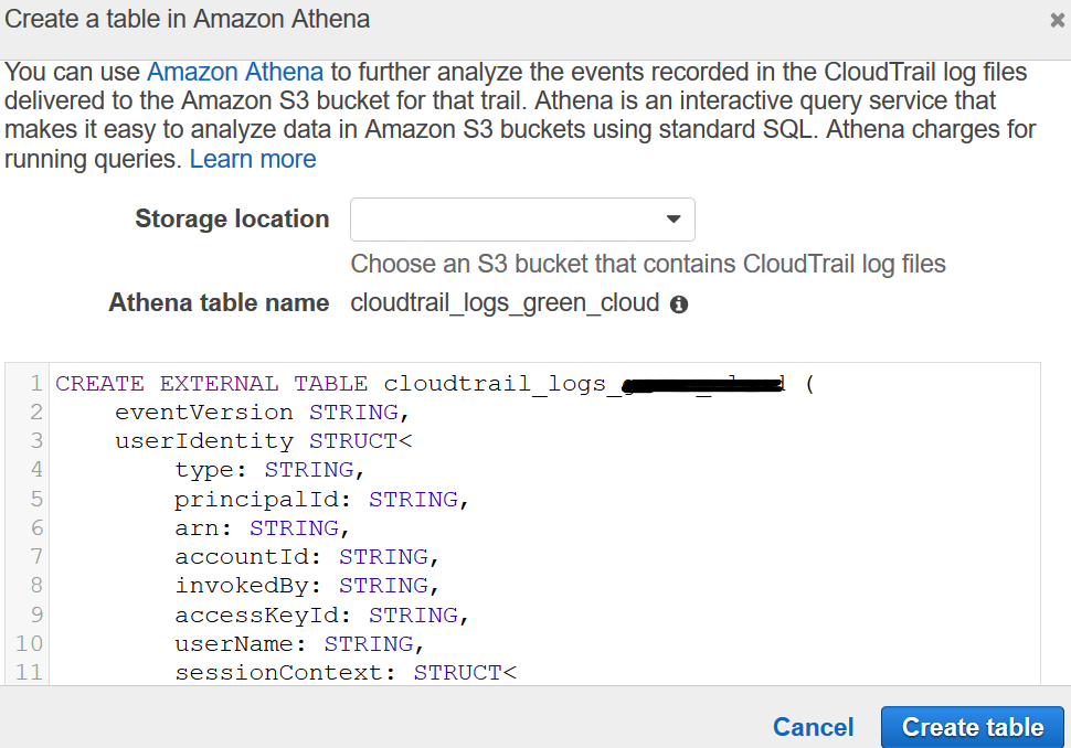 create a table in Amazon Athena