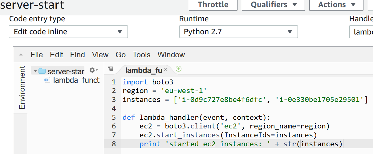 ec2 instance start with lambda function