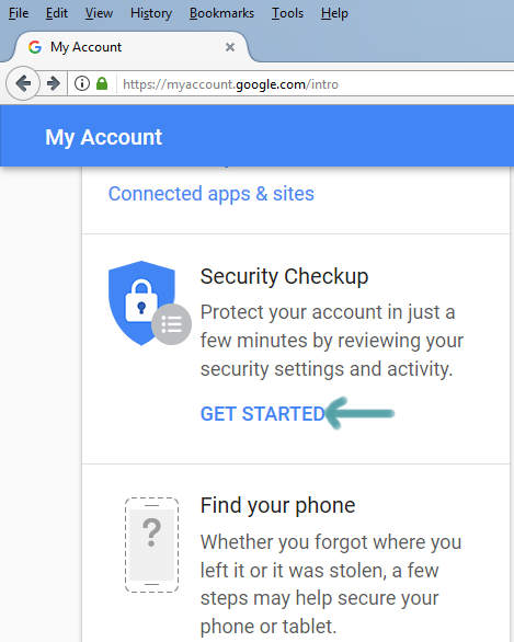 gmail security checkup get started page