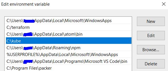 minikube environmental variable path in windows 10