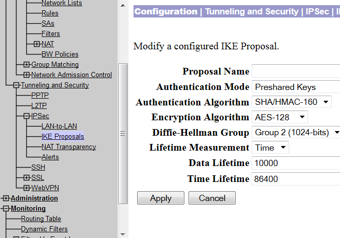 modify IKE proposal in concentrator