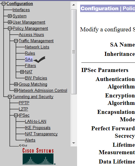 modify security association parameters in concentrator