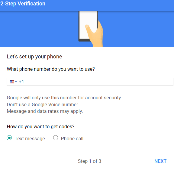 phone number setup in two-step verification method