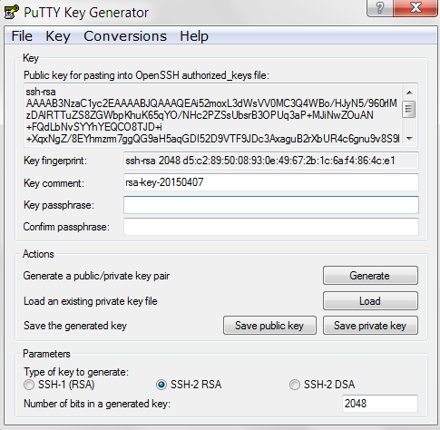 public and private key generation with PuTTY key gen