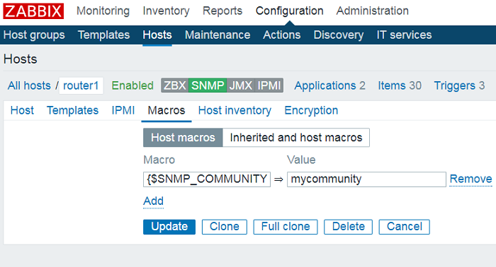 create snmp macro in zabbix server