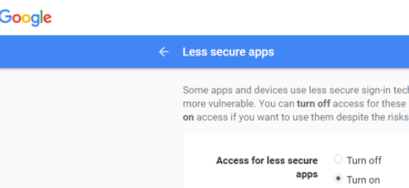 turn on access for less secure apps in gmail