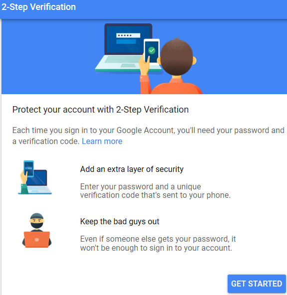 two step verification page